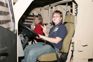 Student sitting in test vehicle